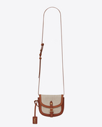SAINT LAURENT Toy Besace D Toy BESACE bag in ivory linen and cognac leather f