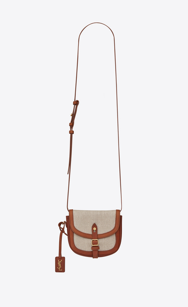 SAINT LAURENT Toy Besace D Toy BESACE bag in ivory linen and cognac leather a_V4