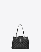 "SAINT LAURENT Monogramme Loulou D Small LOULOU shopping bag in black ""Y"" quilted leather f"