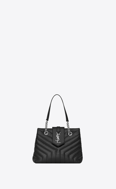 "SAINT LAURENT Monogramme Loulou D Small LOULOU shopping bag in black ""Y"" quilted leather a_V4"