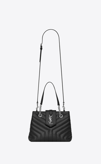 "SAINT LAURENT Monogramme Loulou D Small LOULOU shopping bag in black ""Y"" quilted leather b_V4"