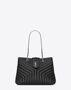 "SAINT LAURENT Monogramme Loulou D Large LOULOU shopping bag in ""Y""-quilted black leather f"
