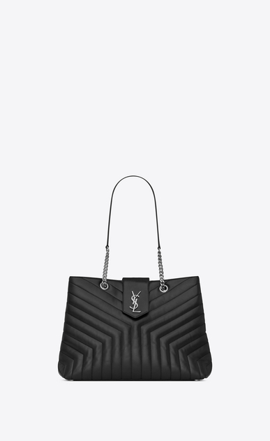 "SAINT LAURENT Monogramme Loulou Woman Large LOULOU shopping bag in ""Y""-quilted black leather a_V4"