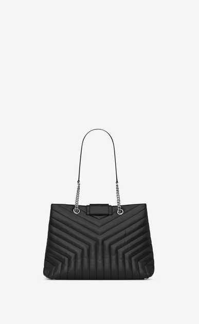 "SAINT LAURENT Monogramme Loulou Woman Large LOULOU shopping bag in ""Y""-quilted black leather b_V4"