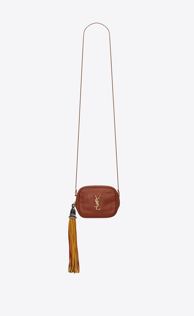 SAINT LAURENT Mini bags Camera Woman BLOGGER bag in cognac leather a_V4
