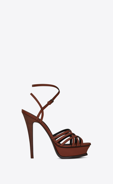 SAINT LAURENT Tribute D TRIBUTE 105 multi-strap sandals in whiskey painted leather a_V4