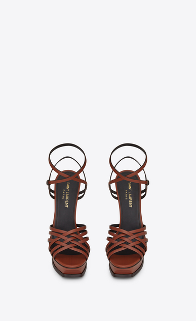 SAINT LAURENT Tribute D TRIBUTE 105 multi-strap sandals in whiskey painted leather b_V4