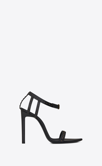 SAINT LAURENT Majorelle Woman MAJORELLE 105 studded sandal in black painted leather a_V4
