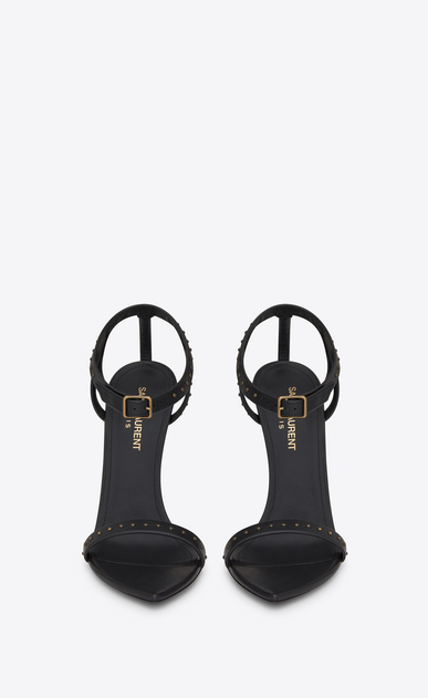 SAINT LAURENT Majorelle D MAJORELLE 105 studded sandal in black painted leather b_V4