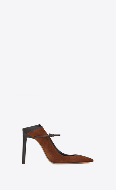 SAINT LAURENT Majorelle Woman MAJORELLE 105 convertible pumps in caramel suede and brown leather a_V4