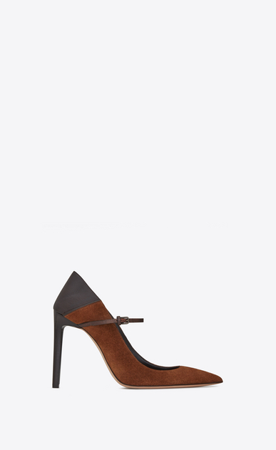 SAINT LAURENT Majorelle D MAJORELLE 105 convertible pumps in caramel suede and brown leather b_V4
