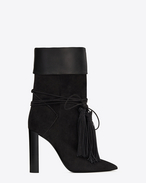 SAINT LAURENT Tanger Shoes D TANGER 105 ankle boots in black suede and leather f