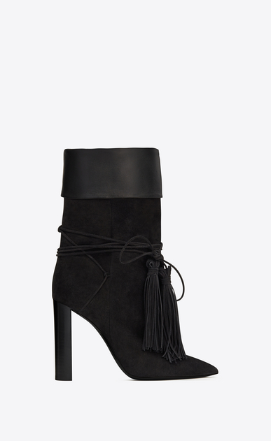 SAINT LAURENT Tanger Shoes Woman TANGER 105 ankle boots in black suede and leather a_V4