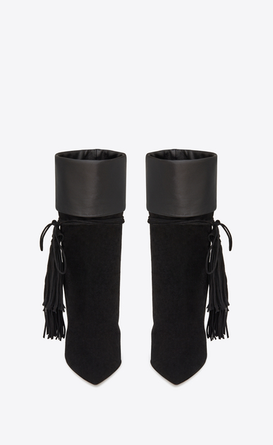 SAINT LAURENT Tanger Shoes Woman TANGER 105 ankle boots in black suede and leather b_V4