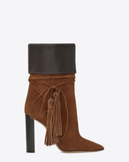 SAINT LAURENT Tanger Shoes D TANGER 105 tasseled ankle boots in caramel suede and brown leather f
