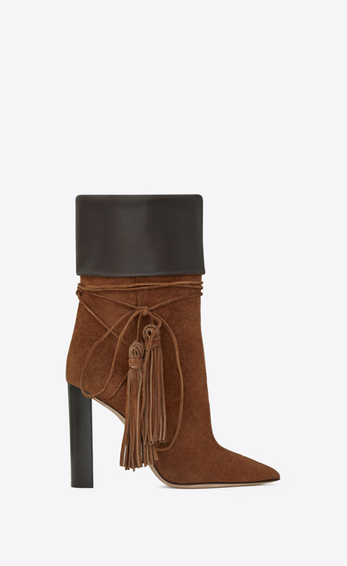 SAINT LAURENT Tanger Shoes Woman TANGER 105 tasseled ankle boots in caramel suede and brown leather a_V4