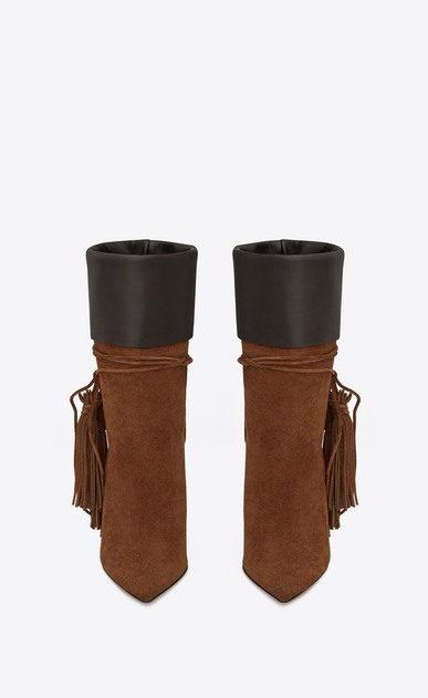 SAINT LAURENT Tanger Shoes Woman TANGER 105 tasseled ankle boots in caramel suede and brown leather b_V4