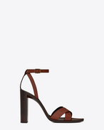 SAINT LAURENT Tanger Shoes D TANGER 105 sandal with crisscrossed ties in whiskey painted leather f