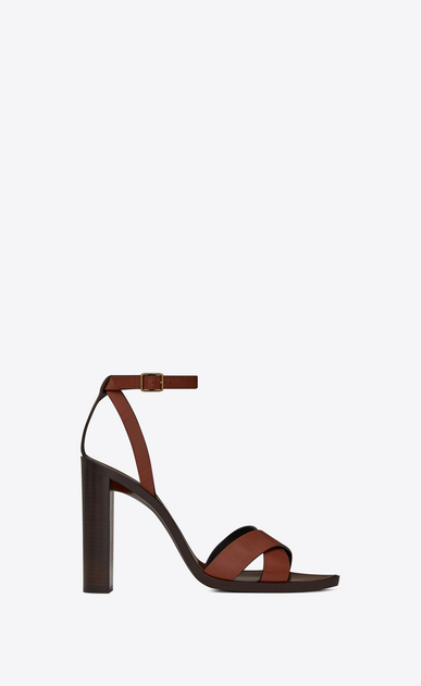 SAINT LAURENT Tanger Shoes Woman TANGER 105 sandal with crisscrossed ties in whiskey painted leather a_V4