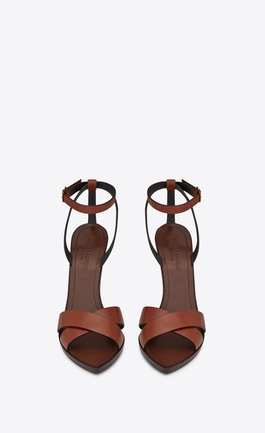 SAINT LAURENT Tanger Shoes Woman TANGER 105 sandal with crisscrossed ties in whiskey painted leather b_V4