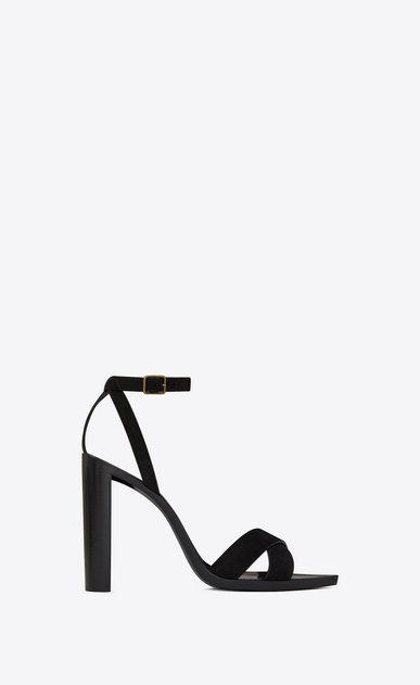 SAINT LAURENT Tanger Shoes Woman TANGER 105 sandal with crisscrossed ties in black suede a_V4