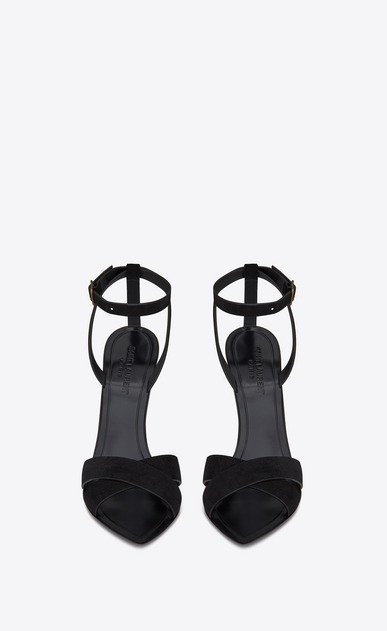 SAINT LAURENT Tanger Shoes Woman TANGER 105 sandal with crisscrossed ties in black suede b_V4