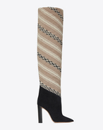 SAINT LAURENT Tanger Shoes D TANGER 105 thigh boots in IKAT fabric and black suede f