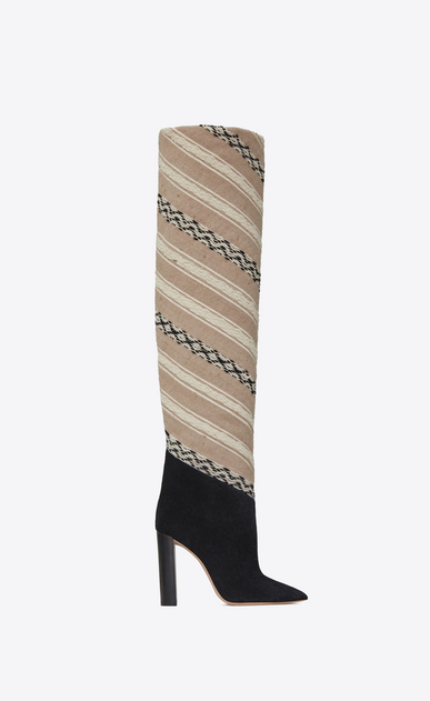 TANGER 105 thigh boots in IKAT fabric and black suede