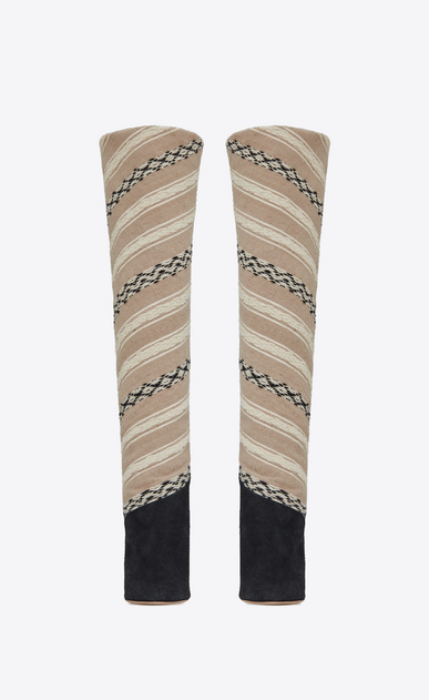 SAINT LAURENT Tanger Shoes D TANGER 105 thigh boots in IKAT fabric and black suede b_V4