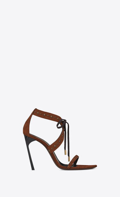 SAINT LAURENT Majorelle Woman IRIS studded sandal in caramel suede a_V4