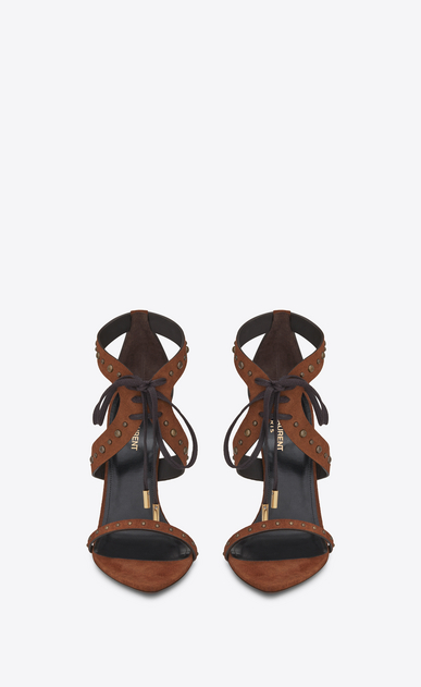 SAINT LAURENT Majorelle Woman IRIS studded sandal in caramel suede b_V4
