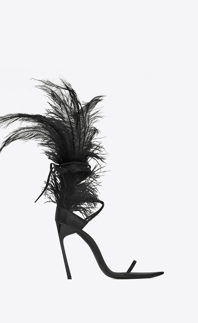 SAINT LAURENT Majorelle Woman IRIS 105 sandal in black leather and black ostrich feathers a_V4