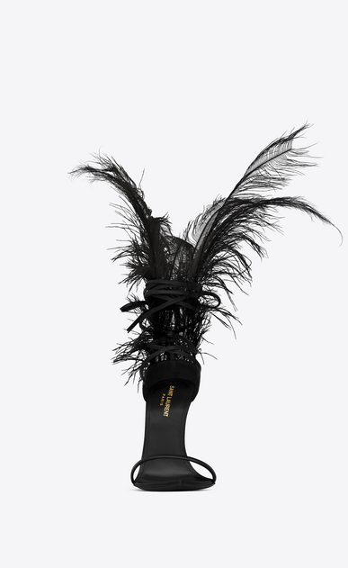 SAINT LAURENT Majorelle Woman IRIS 105 sandal in black leather and black ostrich feathers b_V4