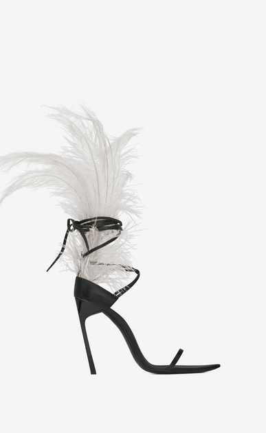 SAINT LAURENT Majorelle Woman IRIS 105 sandal in black leather and beige ostrich feathers a_V4