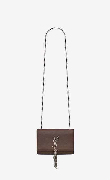SAINT LAURENT MONOGRAM KATE WITH TASSEL D Small KATE chain bag with tassel in chocolate leather a_V4
