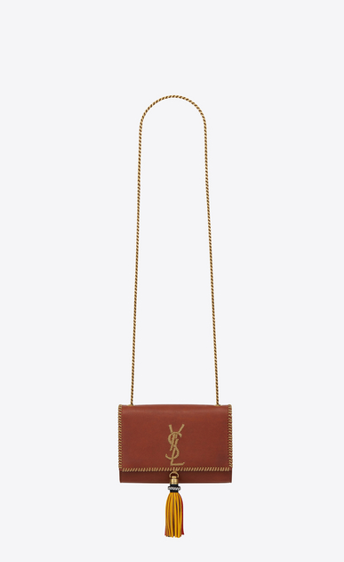 SAINT LAURENT MONOGRAM KATE WITH TASSEL D Small KATE chain bag with tassel in cognac leather a_V4