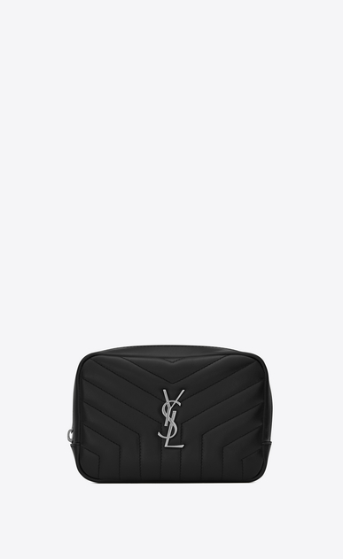 "SAINT LAURENT Loulou SLG レディース LOULOU makeup bag in shiny black leather with ""Y"" quilting a_V4"