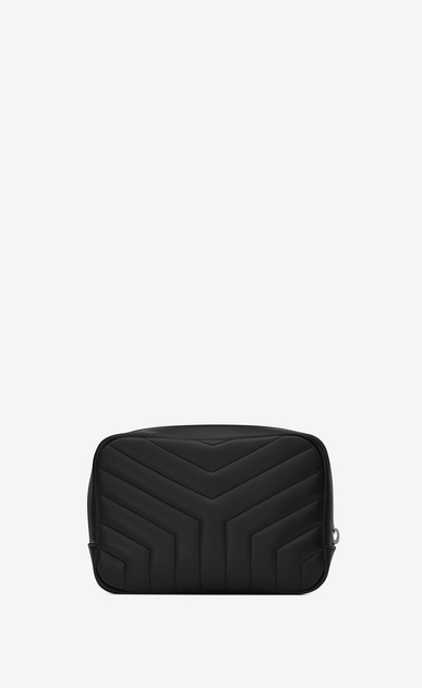 "SAINT LAURENT Loulou SLG D LOULOU makeup bag in shiny black leather with ""Y"" quilting b_V4"
