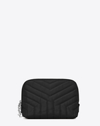 "SAINT LAURENT Monogram Matelassé D LOULOU makeup bag in shiny black leather with ""Y"" quilting f"
