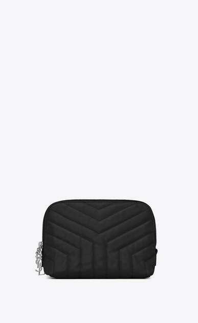 "SAINT LAURENT Loulou SLG D LOULOU makeup bag in shiny black leather with ""Y"" quilting a_V4"