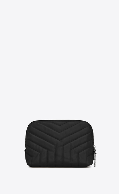 "SAINT LAURENT Loulou SLG Woman LOULOU makeup bag in shiny black leather with ""Y"" quilting b_V4"