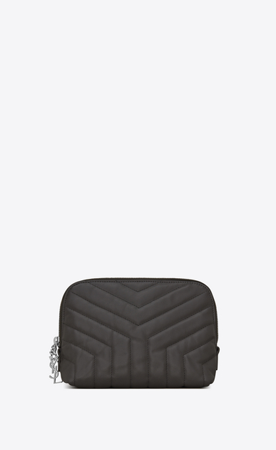 "SAINT LAURENT Loulou SLG Woman LOULOU makeup bag in shiny asphalt gray leather with ""Y"" quilting a_V4"