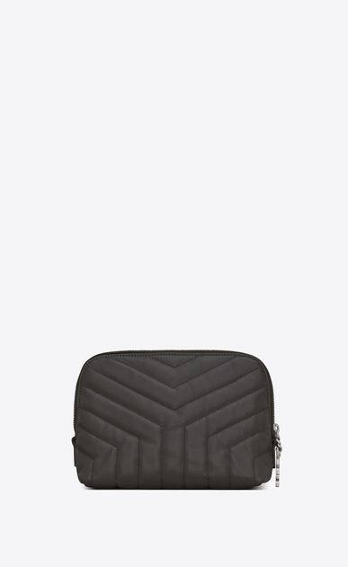 "SAINT LAURENT Loulou SLG レディース LOULOU makeup bag in shiny asphalt gray leather with ""Y"" quilting b_V4"