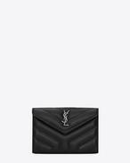 "SAINT LAURENT Monogram Matelassé D Small LOULOU envelope wallet in shiny black ""Y"" quilted leather f"