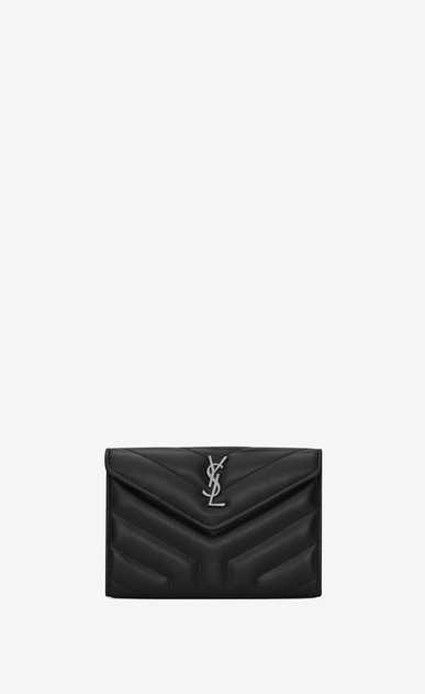 "SAINT LAURENT Loulou SLG Woman Small LOULOU envelope wallet in shiny black ""Y"" quilted leather a_V4"