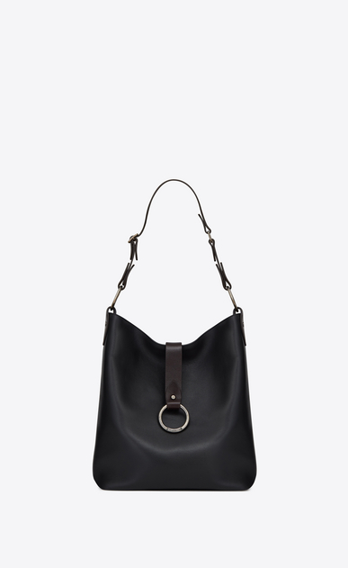 SAINT LAURENT Saharienne D Medium HOBO SAINT LAURENT bag in black and chocolate leather a_V4