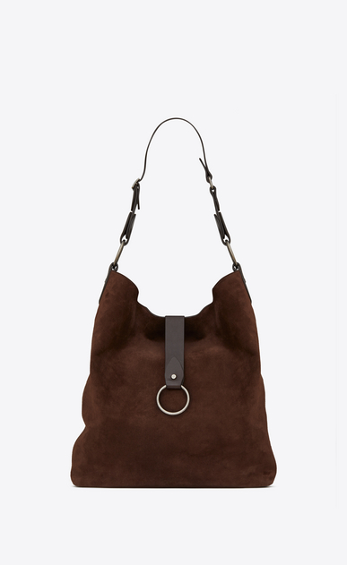 SAINT LAURENT Saharienne D Large HOBO SAINT LAURENT bag in brown suede and chocolate leather a_V4