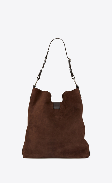 SAINT LAURENT Saharienne D Large HOBO SAINT LAURENT bag in brown suede and chocolate leather b_V4