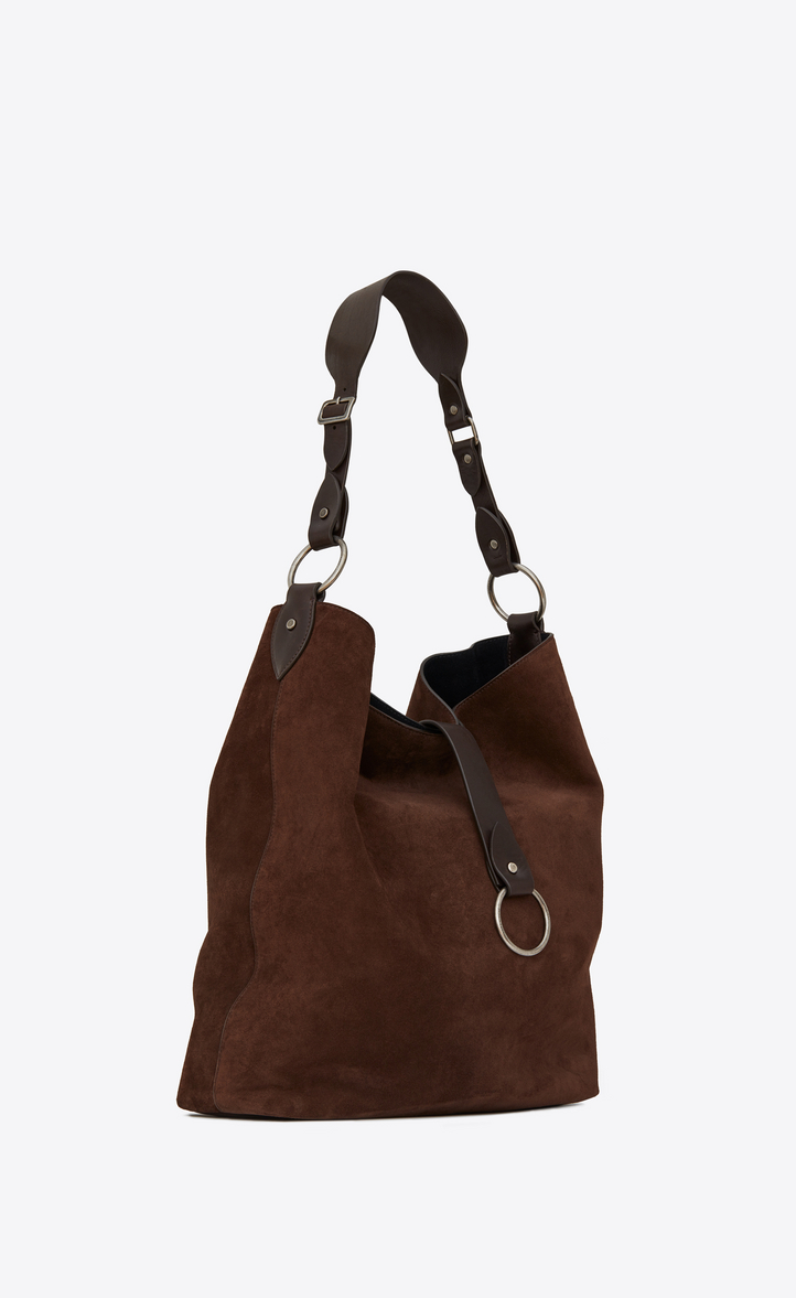 Large HOBO SAINT LAURENT bag in brown suede and chocolate leather