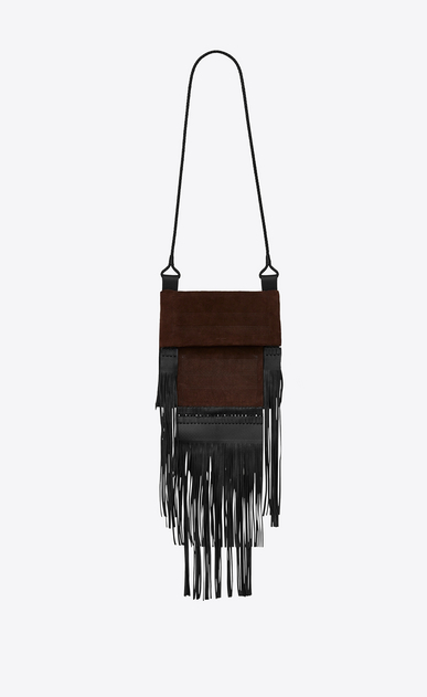 SAINT LAURENT Tanger Bags D Large flat SAHARIENNE bag in brown suede a_V4